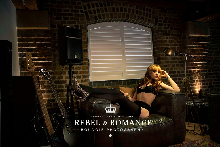 tattoo paradise lost boudoir photography london redhead edgy guitar