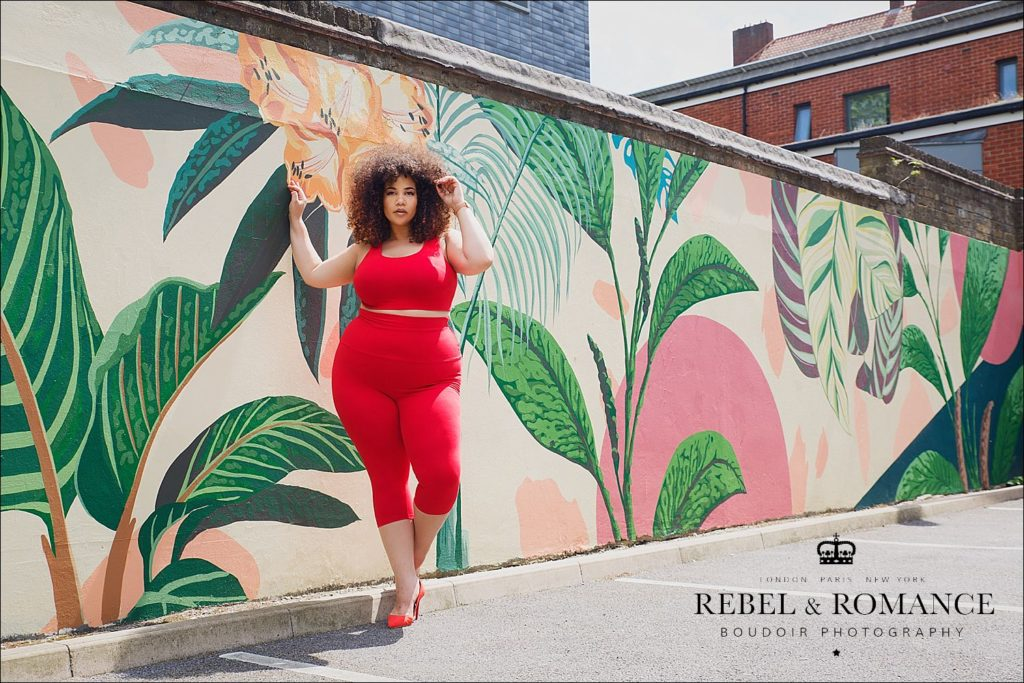 tropical feeling photo shoot of plus size mixed race woman with afro in London