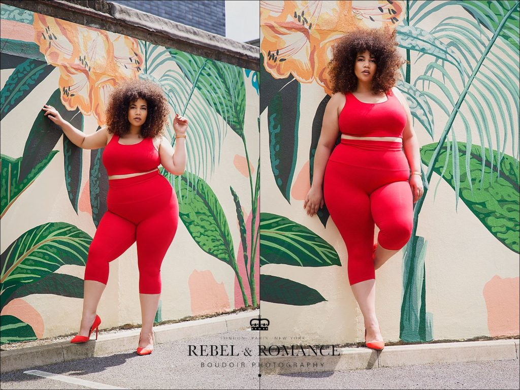tropical feeling photo shoot of plus size mixed race woman with afro in red shapewear