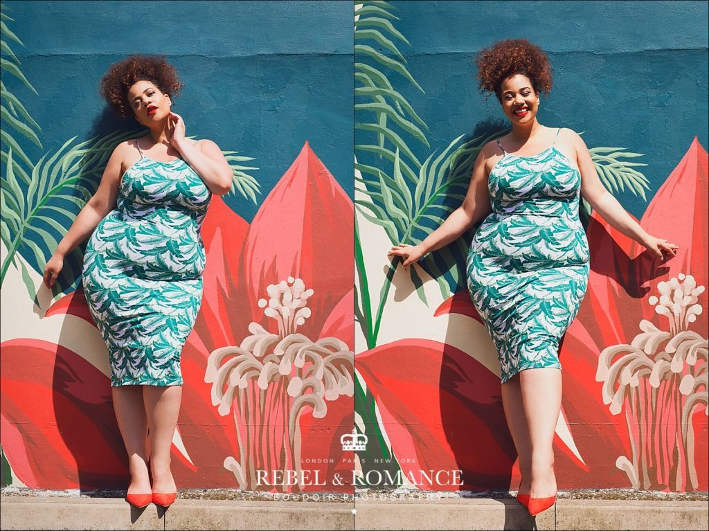 plus size fashion photoshoot in front of a tropical wall mural