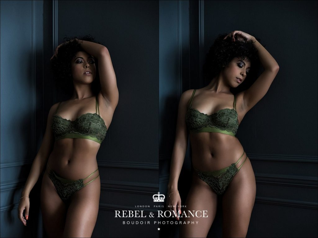 Rebel & Romance Boudoir Photography lingerie photo shoot featuring natural afro